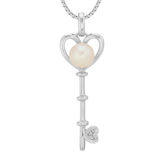 Cultured freshwater pearl diamond key pendant 20in shane co cultured freshwater pearl diamond key pendant 20in mozeypictures Image collections