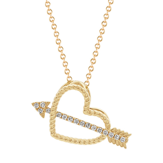 Cupid Heart and Arrow Pendant (22 in)