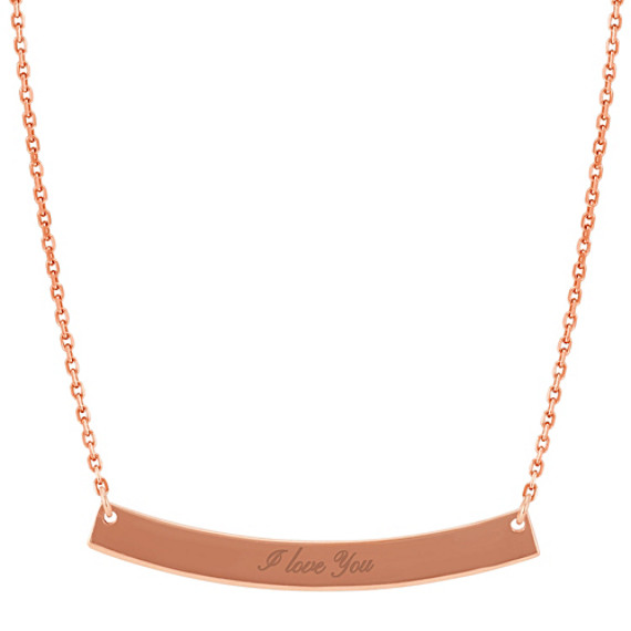 Curved Bar Necklace in 14k Rose Gold (18 in)