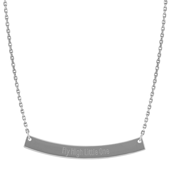 Curved Bar Necklace in 14k White Gold (18 in)