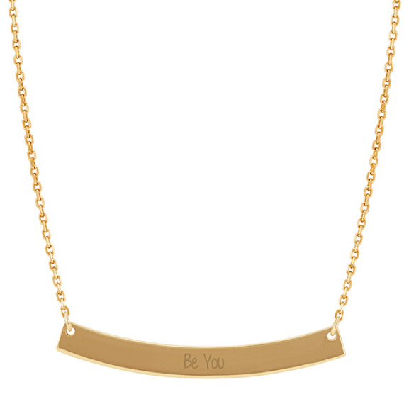 Curved Bar Necklace in 14k Yellow Gold (18 in.)