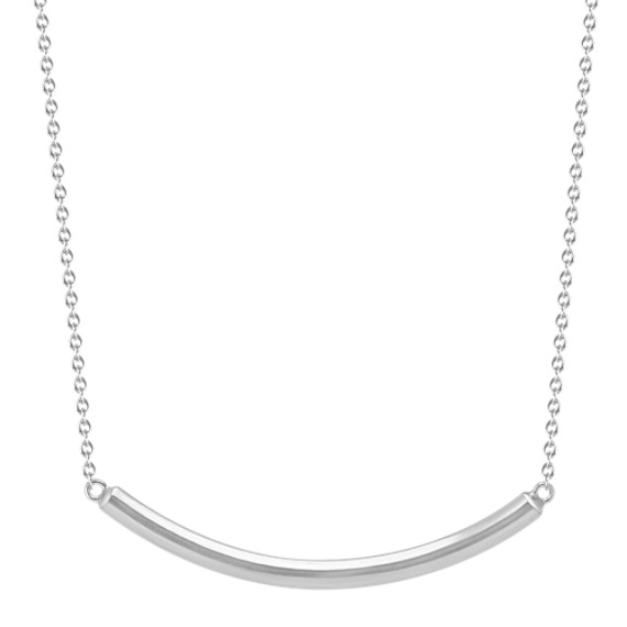 Curved Bar Necklace in Sterling Silver (18 in)