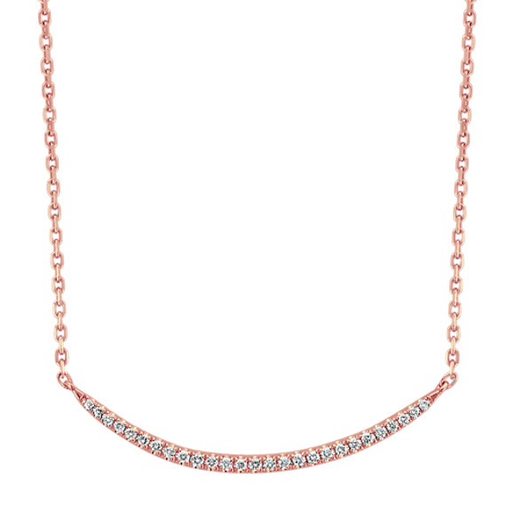 Curved Diamond Necklace in 14k Rose Gold (18 in)
