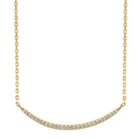 Curved Diamond Necklace in 14k Yellow Gold (18 in)