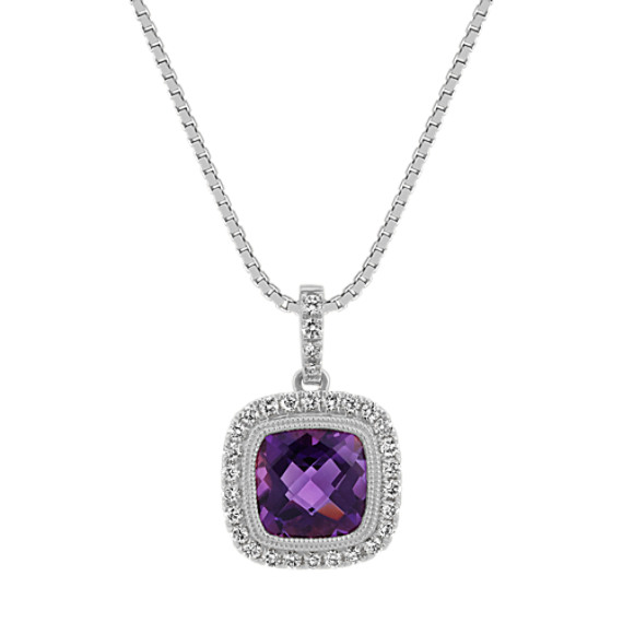 Cushion-Cut Amethyst and Diamond Pendant (18 in)