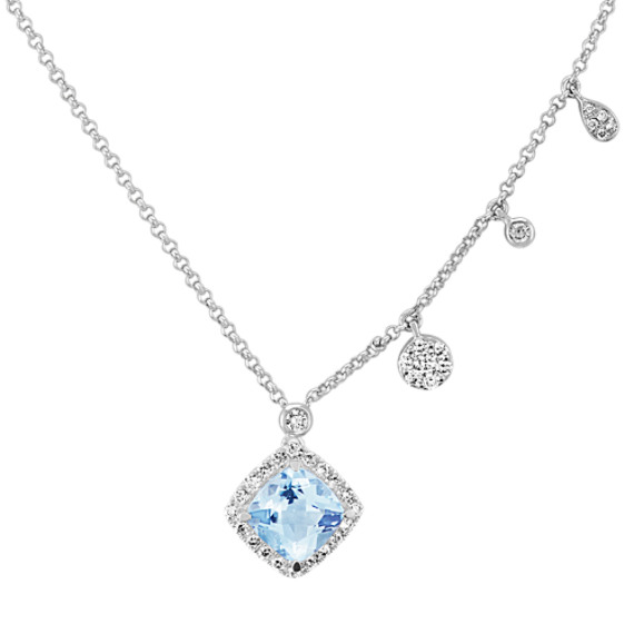 Cushion Cut Aquamarine and Diamond Necklace (18 in)