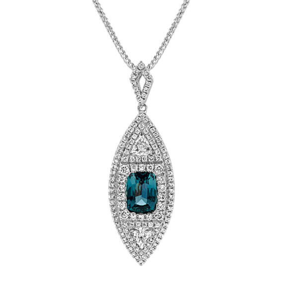 Cushion Cut Blue Green Sapphire, Trillion and Round Diamond Pendant (22 in)