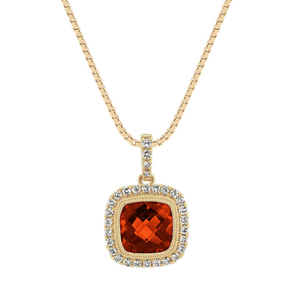 Cushion-Cut Garnet and Diamond Pendant (18 in)