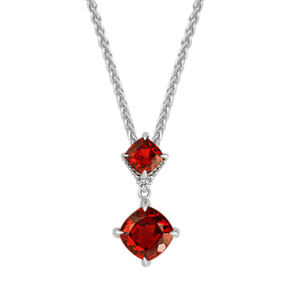 Cushion cut garnet and diamond pendant 20 in shane co cushion cut garnet and diamond pendant 20 in aloadofball Images