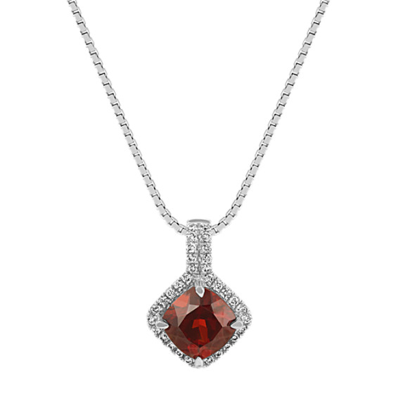 Cushion Cut Garnet and Diamond Pendant (20 in)