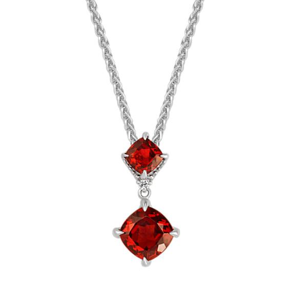 Cushion Cut Garnet and Diamond Pendant (20 in)