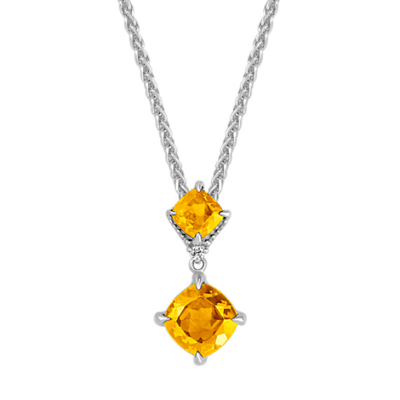 Cushion cut gold citrine diamond pendant 20 in shane co cushion cut gold citrine diamond pendant 20 in aloadofball Images