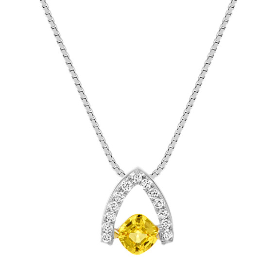 Cushion Cut Yellow Sapphire and Round Diamond Pendant (18 in)