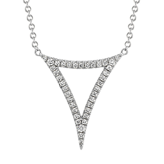 Diamond Abstract Triangle Necklace in 14k White Gold (17 in)