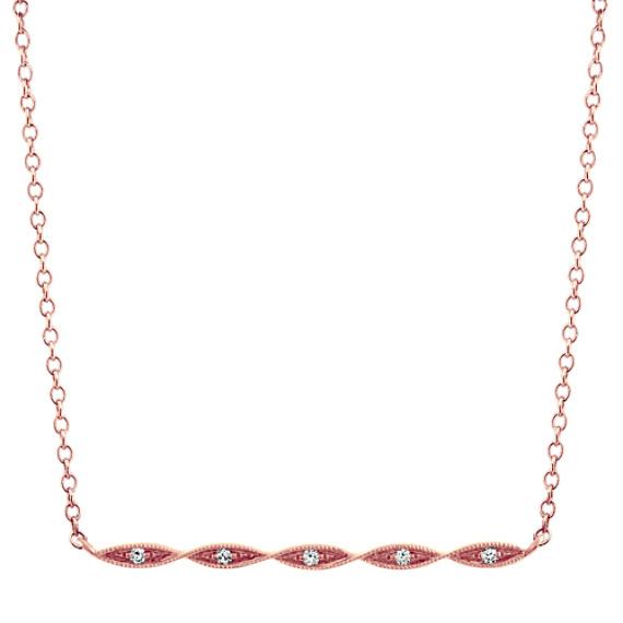 Diamond Bar Necklace in 14k Rose Gold (18 in)