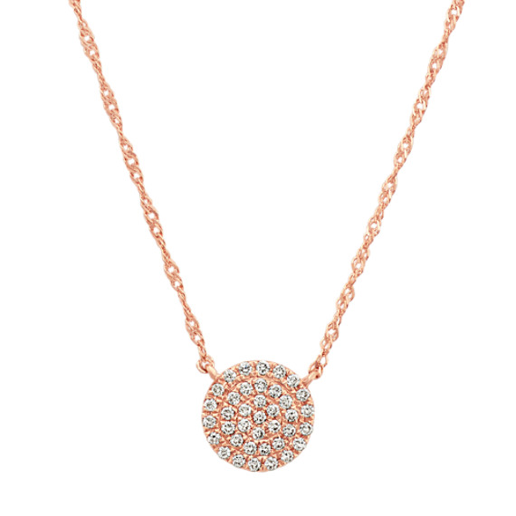 Diamond Circle Cluster Necklace in 14k Rose Gold (18 in)