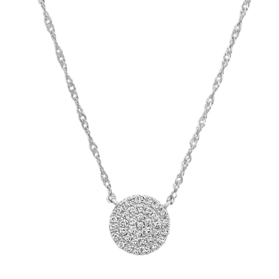 Diamond Circle Cluster Necklace in 14k White Gold (18 in)