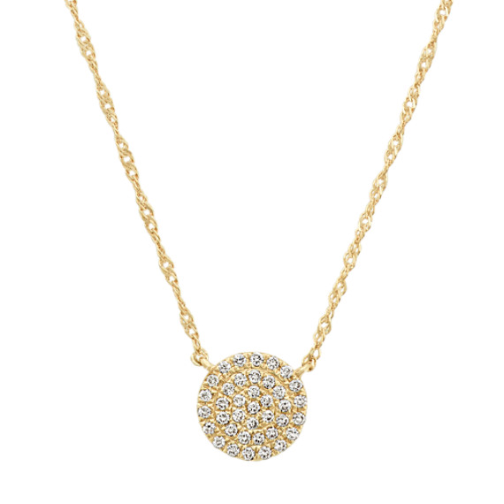 Diamond Circle Cluster Necklace in 14k Yellow Gold (18 in)