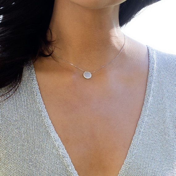 Diamond Circle Necklace in 14k White Gold (18 in.) image
