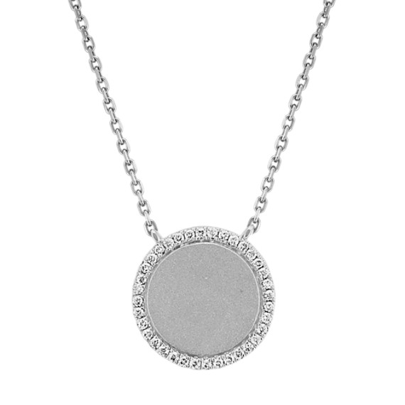 Diamond Circle Necklace in 14k White Gold (18 in)