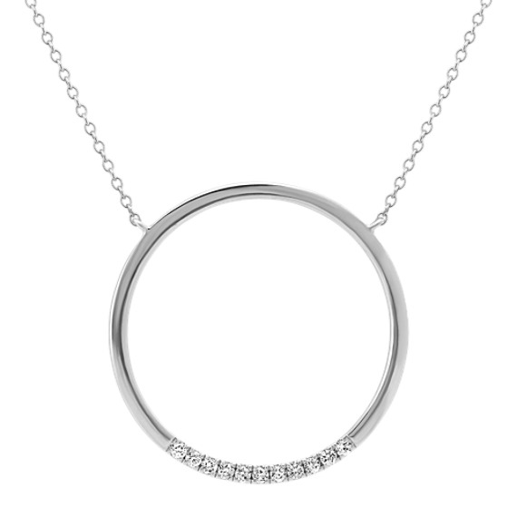 Diamond Circle Necklace in Sterling Silver (24 in)