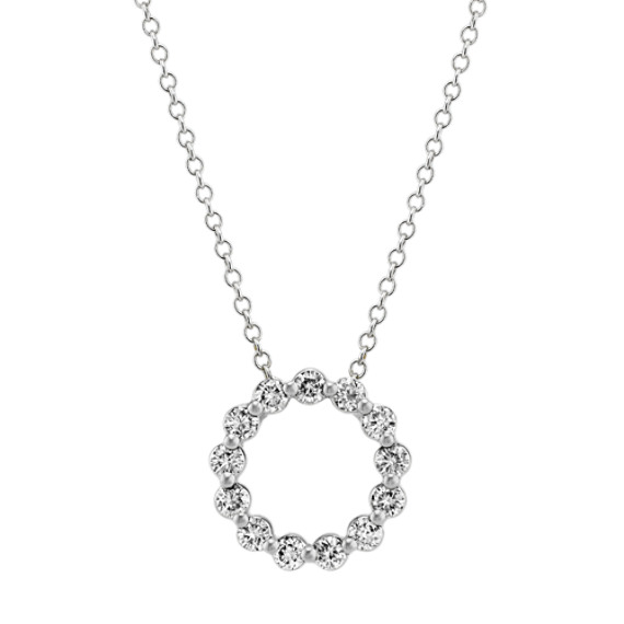 Diamond Circle Pendant in 14k White Gold (24 in)