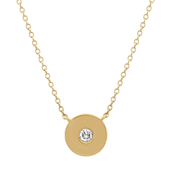 Diamond Circle Necklace in 14k Yellow Gold (18 in)