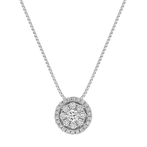 Diamond Cluster Circle Pendant (18 in)