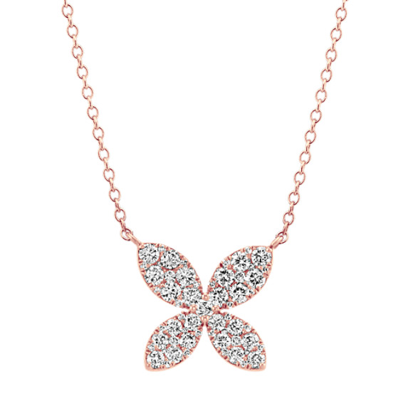 Diamond Cluster Necklace in 14k Rose Gold (18 in)