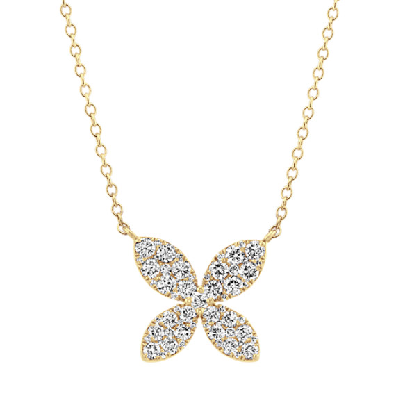 Diamond Cluster Necklace in 14k Yellow Gold (18 in)