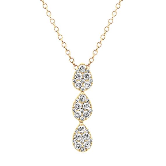 Diamond Cluster Pendant in 14k Yellow Gold (24 in)