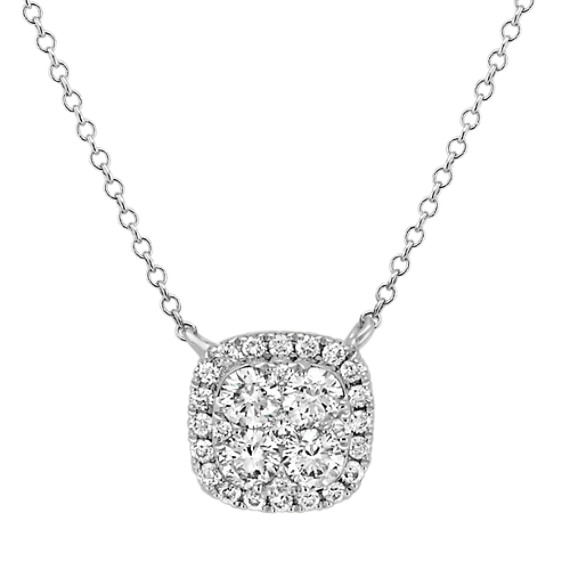 Diamond Cluster Square Necklace (18 in)
