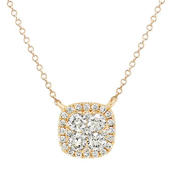 Diamond Cluster Square Necklace (18 in)