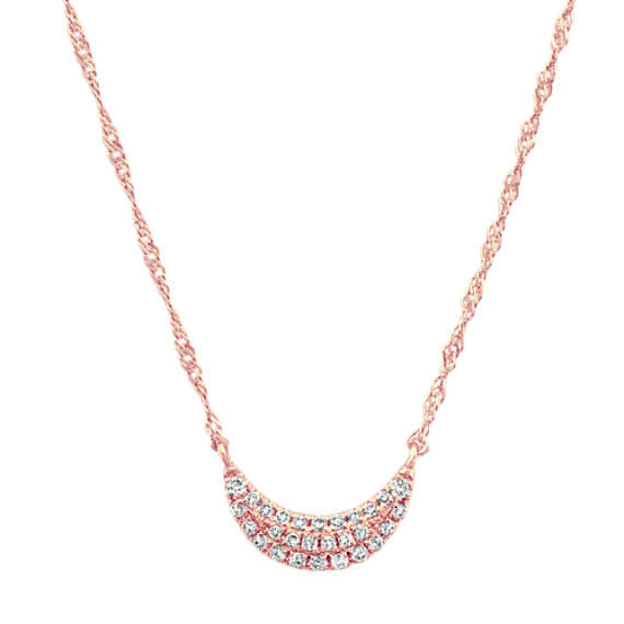 Diamond Crescent Moon Cluster Necklace in 14k Rose Gold (18 in)