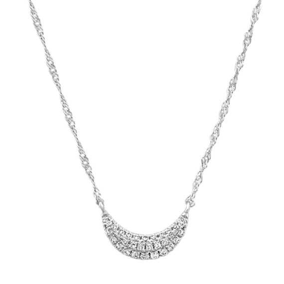 Diamond Crescent Moon Cluster Necklace in 14k White Gold (18 in)