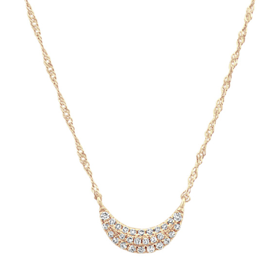 Diamond Crescent Moon Cluster Necklace in 14k Yellow Gold (18 in)