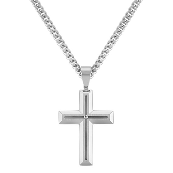 Diamond Cross Necklace in Stainless Steel (24 in)