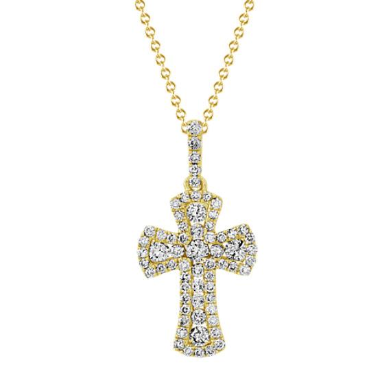 Diamond Cross Pendant in 14k Yellow Gold (18 in)