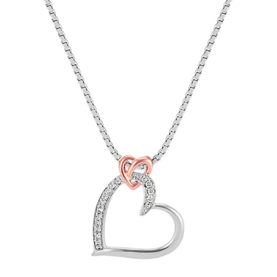 Diamond Double Heart Pendant in Sterling Silver and 14k Rose Gold (18 in)