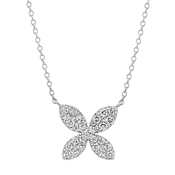 Diamond Floral Necklace in 14k White Gold (18 in)