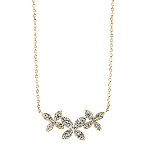 Diamond Floral Trio Necklace (18 in)