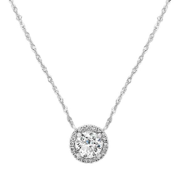 Diamond Halo Necklace in 14k White Gold (18 in)