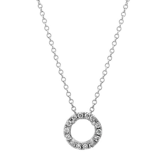 Diamond Halo Pendant in 14k White Gold (22 in)