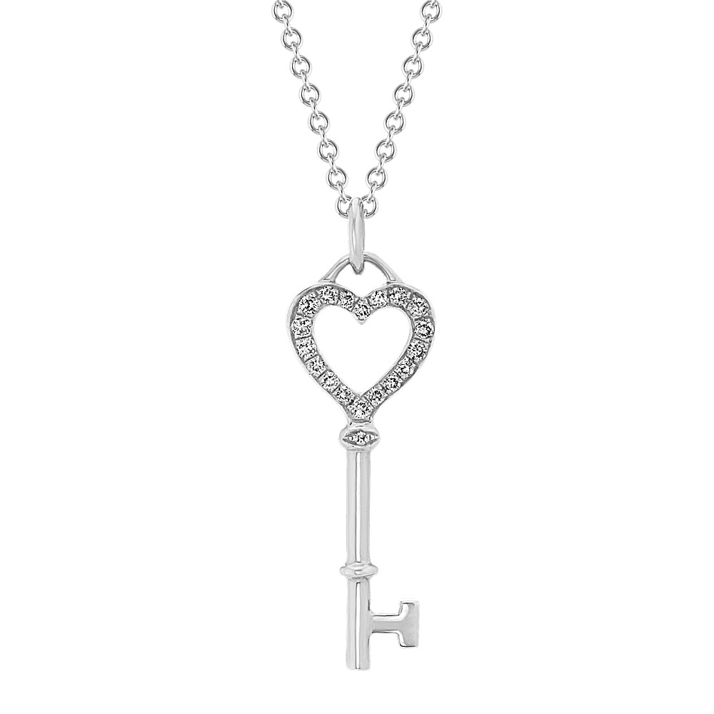 Diamond Heart Key Pendant in 14k White Gold (22in.) | Shane Co.