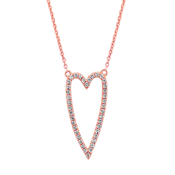 Diamond Heart Necklace in 14k Rose Gold (18 in.)