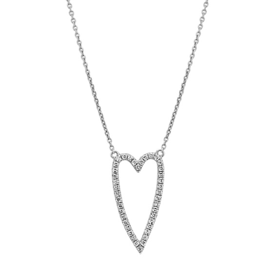 Diamond Heart Necklace in 14k White Gold (18 in.)