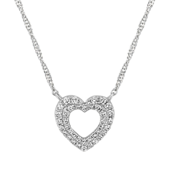 Diamond Heart Necklace in 14k White Gold (18 in)