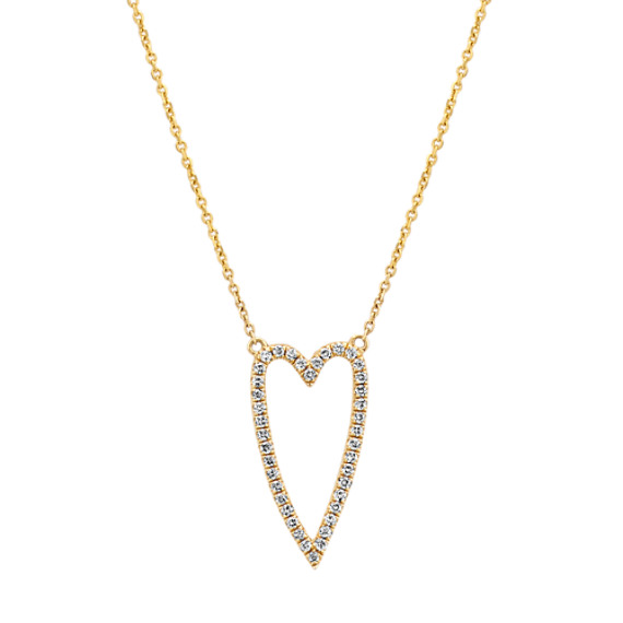 Diamond Heart Necklace in 14k Yellow Gold (18 in.)
