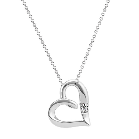 Diamond Heart Necklace in Sterling Silver (20 in.)