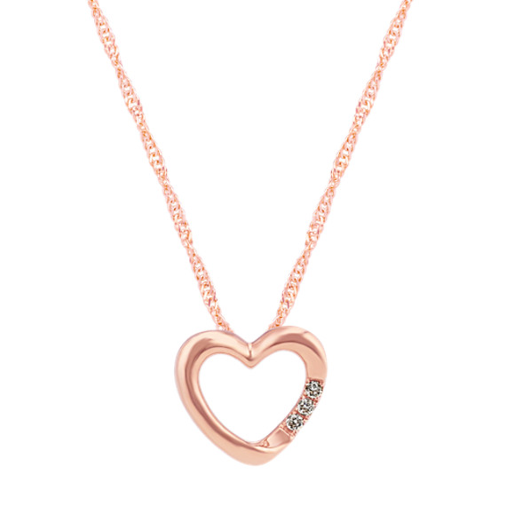 Diamond Heart Pendant in Rose Gold (20 in)